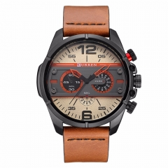 Curren 8259 Top Brand Luxury Leather Military Quartz Watch Men Casual Sport Clock Male Wristwatch black+red one size