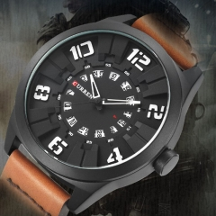 CURREN Military Sport Quartz watch Men Fashion Casual Army Top Brand Luxury Leather Quartz-Watch black white one size