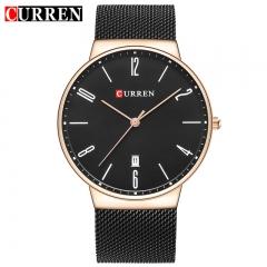 2017 NEW CURREN Fashion Wach Wrist male Watches Men date Quartz Watch Ultra thin Dial Clock Man 8257 black gold one size