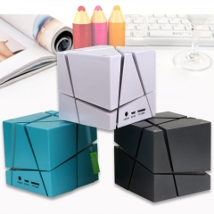 Mini Magic Cube Ultra-Portable Wireless Bluetooth Speaker Powerful Sound with Build-in Mic FM Mode black 2.75X2.75X2.75inch