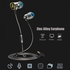 High-end Zn Alloy Earphone Bass Music in-ear headphone with line control&Mic for phone PC grey