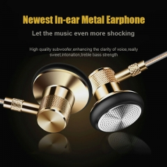2017 Newest In-ear Metal Earphone Music headphone with Mic and Line Control for Phone Computer gold