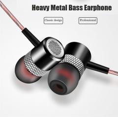 Sports Metal Heavy Bass Earphone Noise Reduction Headphones Hifi Music Headset for Phone PC MP3 black
