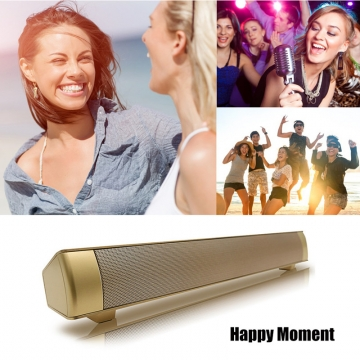 Elegent Design LP-08 TV Wireless Bluetooth Soundbar Subwoofer Stereo Speaker for Phone PC gold 17.75x2.25x2.1inch