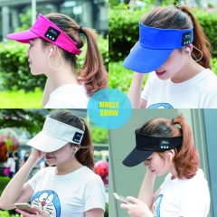 Man and Woman 2 in 1 Bluetooth Visor Headphone Wireless Headset for Phone Support hands free call black