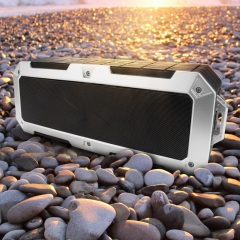 2*10W Powerful Super Bass Wireless Bluetooth Speakers IP67 Waterproof Portable Speaker for Phone PC silver 2.62x3.75x10.0inch