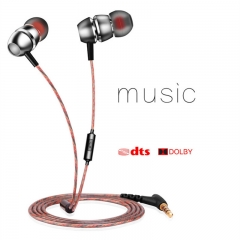 Heavy Bass Metal Earphone Noise Cancelling Headphones Hifi Music Headset for Phone Computer MP3 silver
