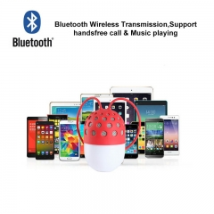 Creative Mini Bluetooth Speaker Portable Waterproof Wireless Loudspeaker with LED Light red 58x88mm