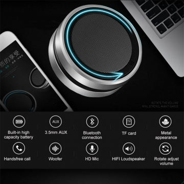 Mini Stainless Steel Wireless Bluetooth Speaker Super Bass Audio Receiver HIFI Stereo Soundbox silver 75x75x35mm