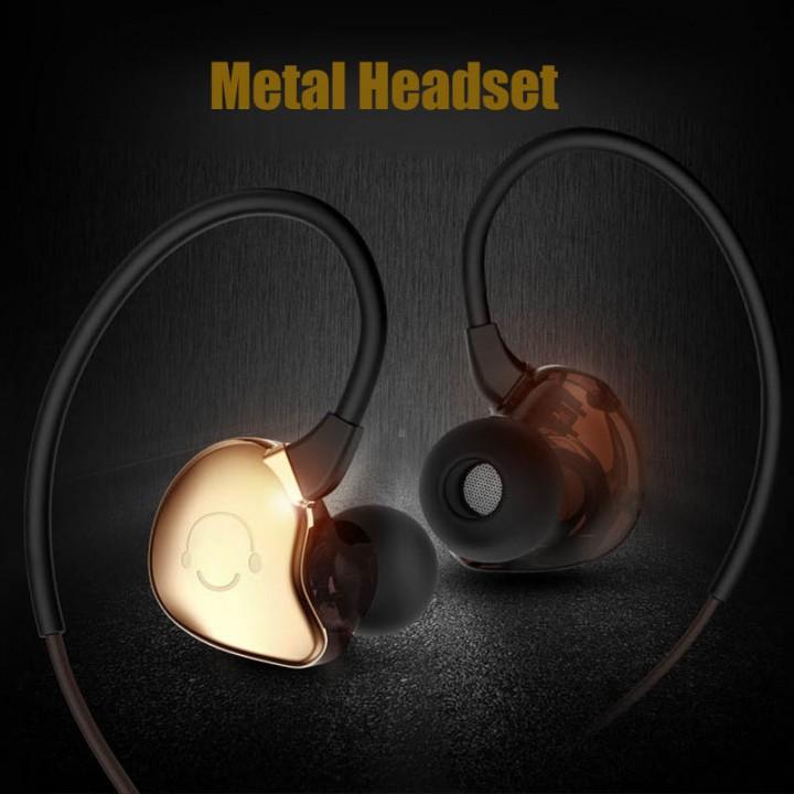 Universal Sport Metal Headset Heavy Bass Sweatproof Earphone Wired HIFI Stereo Headphone with HD Mic gold