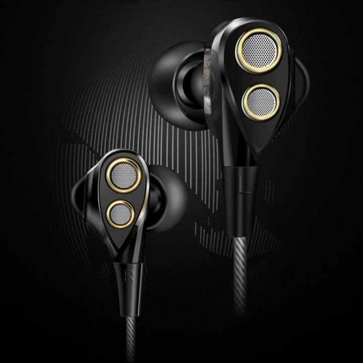 Double Driver Universal Headphone Passive Noise Reduction Headset HIFI Super Bass Stereo Earphone black