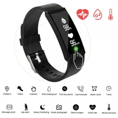Bluetooth Smartwatch Sport IP68 Waterproof Smart Bracelet Heart Rate Smart Wristband Fitness Tracker black 25cm