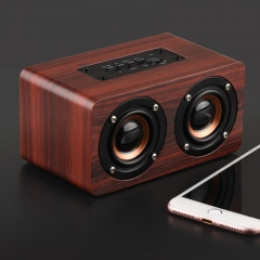 Strong Super Bass Dual 5W Wooden Bluetooth Speaker Portable HIFI Wireless Stereo Speakers Wine Red 150x85x75mm