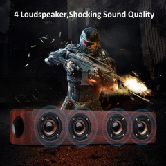 Wooden Bluetooth Speaker Strong Four Loudspeaker HIFI Wireless Stereo Speakers With TF slot FM radio wine red 380x90x90mm