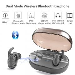 True Bluetooth Earbuds Wireless Waterproof Headset Noise Reduction Earphone HIFI Stereo Headphone black