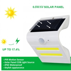 Solar Powered PIR Motion Sensor LED Light Security Wall Lamp Waterproof Night Light  for Outdoor white 1.5W
