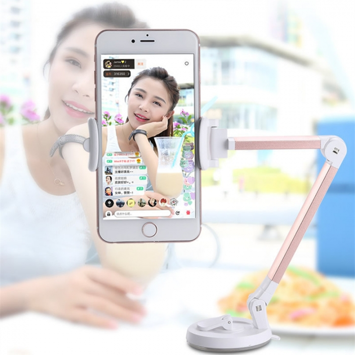 Creative Lazy 360 Degree Roating Multifunctional Cell Phone Holder with Suction Cup gold one size