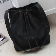New Korean Style Women Bucket Bag Elegant Canvas Casual Single Shoulder Bag Ladies Crossbody Bags black one size