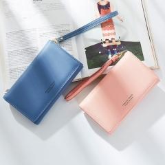 New Arrival Women PU Wristlet Wallet Fashion Snap Fastener Zipper Card Holder Phone Wallet Pink 17x9.5x3cm