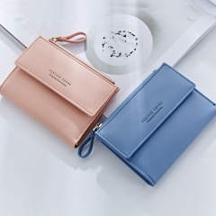 Brand New Women Fold PU Leather Wallets Solid Color Snap Fastener Zipper Short Wallet pink 12.5x9x1.5cm