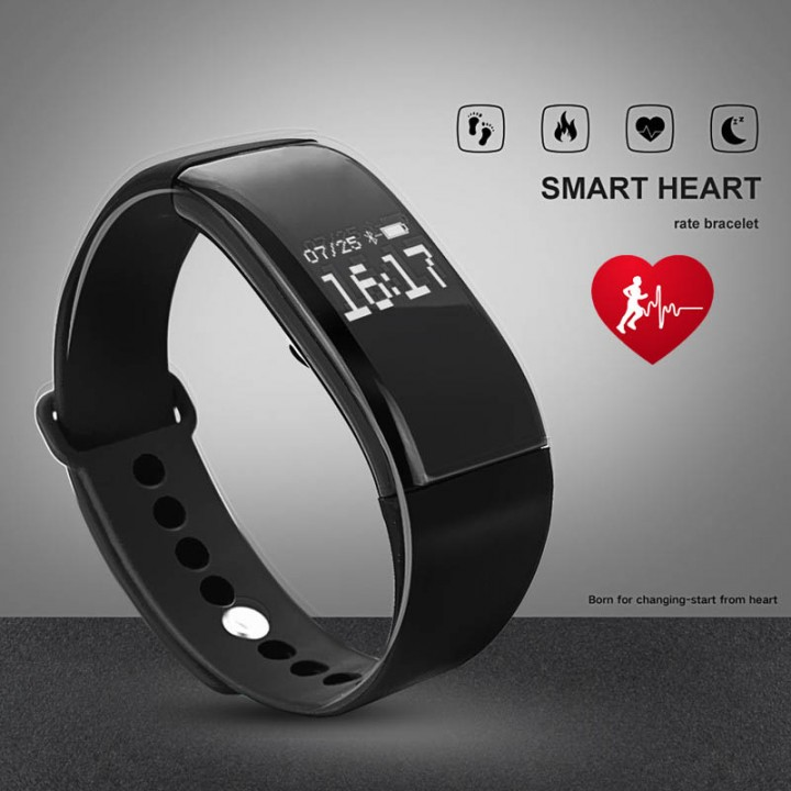 Bluetooth Smartwatch Sport Waterproof Smart Watch Heart Rate Smart Bracelet for Android IOS Black 26cm