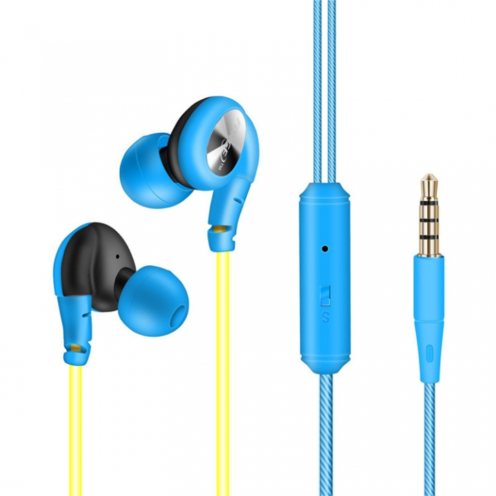 FONGE Sport Waterproof Earphone Music In-ear Headphone with line control&Mic for Phone Computer blue