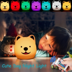 Colorful Cute Dog Night Lights Touch to Change Color Eye Protection Night Lamp With Remote Control white one size 1W