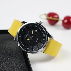 Fashion Original Stock Quartz Watch Simple Style Genuine Leather Waterproof Wristwatch yellow one size
