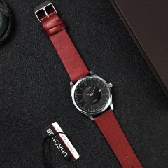 Fashion Original Stock Quartz Watch Simple Style Genuine Leather Waterproof Wristwatch red one size