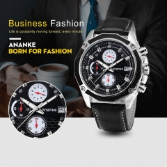 Top Brand Men Quartz Watches Genuine Leather Business Watch Calendar Waterproof Wristwatch black one size