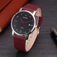 Ananke Simple Style Men Business Watches Fashion Genuine Leather Waterproof Wristwatch red one size