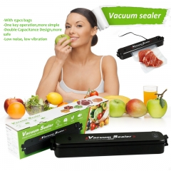 Mini Portable Food Vacuum Sealer Household Automatic Sealing Packaging Machine with 15pcs Bags black one size