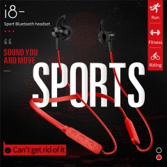 Sport Bluetooth Headset Magnetic HIFI Stereo Earphone Noise Reduction Music Headphone red
