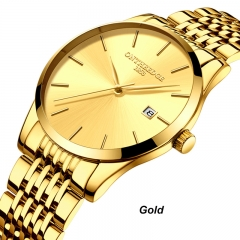 Ultrathin Men Calendar Quartz Analog Watch Stainless Steel Waterproof Business Watches gold one size