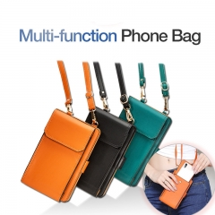 New Multi-funtion Phone Bag Universal Fashion PU Phone Wallet Mini Ladies Casual Crossbody Bags green one size
