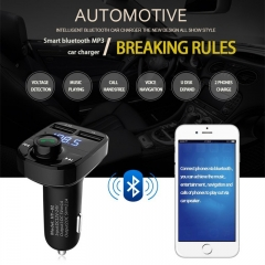 Dual USB Smart Car Charger Car MP3 Bluetooth Receiver FM Transmitter with Mic Support TF USB Input black one size