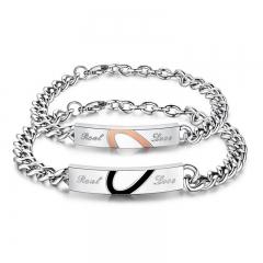 Pair of Couple Lover Bracelet Fashion Titanium Steel Men and Women Hand Love Bangle Bracelet black&gold one size