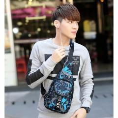 Men Chest Bag Fashion Boys Mini Single Shoulder Bag Oxford Fabric Waterproof Casual Crossbody Bags blue one size