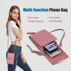 Lady Multifunction PU Leather Phone Wallet Bag Coin Purses Card Holder with Adjustable Strap pink one size