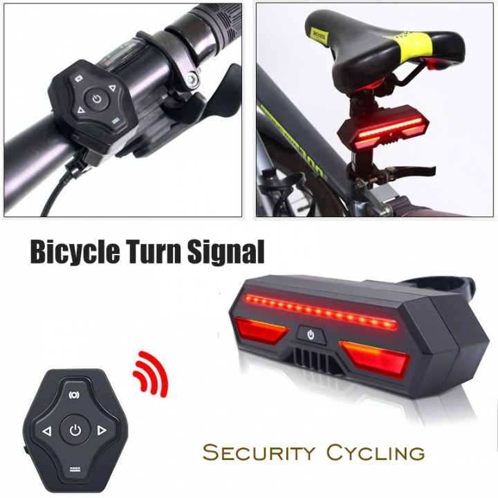 Bicycle Tail Light Remote Control USB Charging Bike Turn Signal Security Cycling Waterproof Lamp black