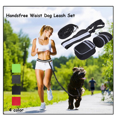 Elastic Belt Running Dog Leash Chain Lead Sports Pet Collar Rope Handsfree Dog Traction Rope Set black one size