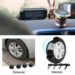 Smart Solar Powered Tire Pressure Monitoring System Real Time Car Diagnostic Auto Alarm System black external