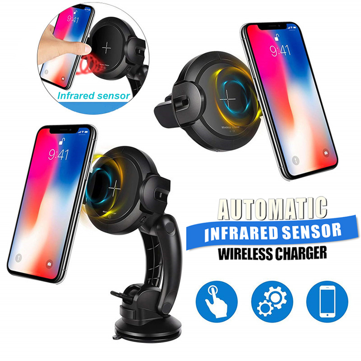 Automatic Infrared Sensor Qi Wireless Charger Dual Modes 10W Quick Charge Car Phone Holder Charger black one size