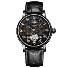 KINYUED Chronograph Men Automatic Watch Moon Phase Mechanical Skeleton Flying Tourbillon Watches black one size