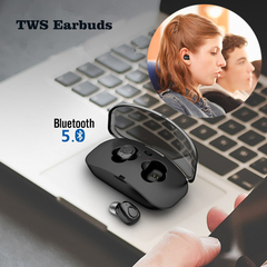 Newest TWS Bluetooth 5.0 Wireless Earbuds Mini Stereo Earphones with 500mAh Charging Case black