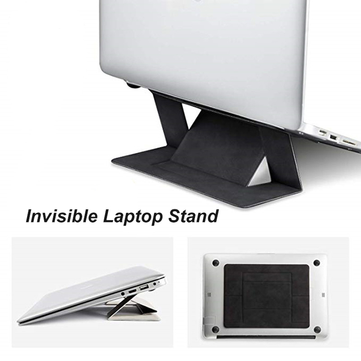 Invisible Laptop Stand Portable Adhesive Laptop Stand Dual-Angle Adjustment Lightweight Kickstand Black one size
