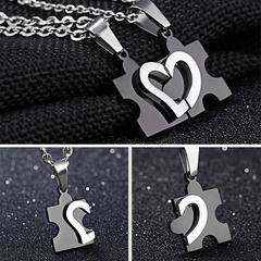 2pcs Couple Necklace Fashion Titanium Steel Men and Women Matching Lover Necklaces Black One size
