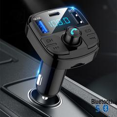 Bluetooth 5.0 Car Kit Wireless FM Transmitter Dual USB Fast Charger Audio Mp3 Player Black