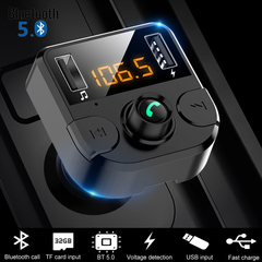 Bluetooth 5.0 Car Kit Wireless FM Transmitter Dual USB Fast Charger Audio Mp3 Player with TF Slot black