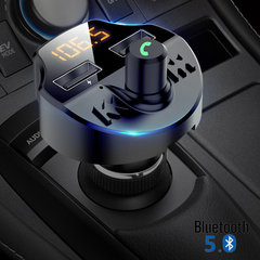 Bluetooth 5.0 Car Kit Car Wireless FM Transmitter Dual USB Fast Charger Car Mp3 Player with TF Slot black one size